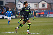 Odin Bailey in action during the EFL Sky Bet League 2 match between Macclesfield Town and Forest Green Rovers at Moss Rose, Macclesfield, United Kingdom on 25 January 2020.