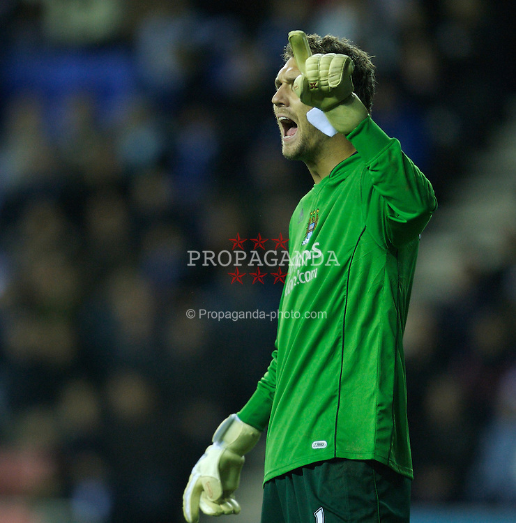 WIGAN, ENGLAND - Saturday, December 1, 2007: Manchester City's goalkeeper Andreas Isaksson during the Premiership match against Wigan Athletic at the JJB Stadium. (Photo by David Rawcliffe/Propaganda)