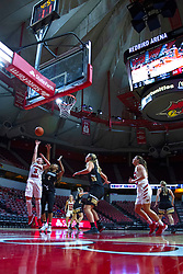 NORMAL, IL - October 30:  Mary Compton hacked by Hennessey Handy during a shot during a college women's basketball game between the ISU Redbirds and the Lions on October 30 2019 at Redbird Arena in Normal, IL. (Photo by Alan Look)