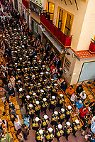 Marching band in the procession of the Brotherhood (Hermandad) La Lanzada, Holy Week (Semana Santa), Seville, Andalusia, Spain.