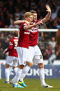 Alan Connell of Northampton Town and Evan Horwood of Northampton Town celebrate the opening goal to make it 0-1 during the Sky Bet League 2 match at Adams Park, High Wycombe<br /> Picture by David Horn/Focus Images Ltd +44 7545 970036<br /> 18/04/2014