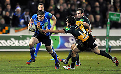 Brian O'Driscoll (Leinster) goes on the attack - Photo mandatory by-line: Patrick Khachfe/JMP - Tel: Mobile: 07966 386802 07/12/2013 - SPORT - RUGBY UNION -  Franklin's Gardens, Northampton - Northampton Saints v Leinster - Heineken Cup.