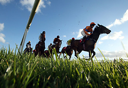 Runners and riders compete in the Dooley Insurances Flat Race during day one of the Punchestown Festival in Naas, Co. Kildare.