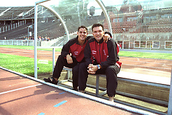 BERLIN, GERMANY - Sunday, August 7, 1994: Liverpool's Jamie Redknapp and Neil Ruddock pictured before a preseason friendly between Hertha BSC Berlin and Liverpool FC at the Olympiastadion. Liverpool won 3-0. (Pic by David Rawcliffe/Propaganda)