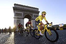 July 28, 2019, Paris, France: Race winner, Colombian rider EGAN BERNAL of Team INEOS on the Champs-Elysees, passing the Arc de Triomphe, during Stage 21 of the 106th edition of the 2019 Tour de France cycling race, the final stage of 128 kms between Rambouillet and the finish at Paris, Champs-Elysees. (Credit Image: © Panoramic via ZUMA Press)