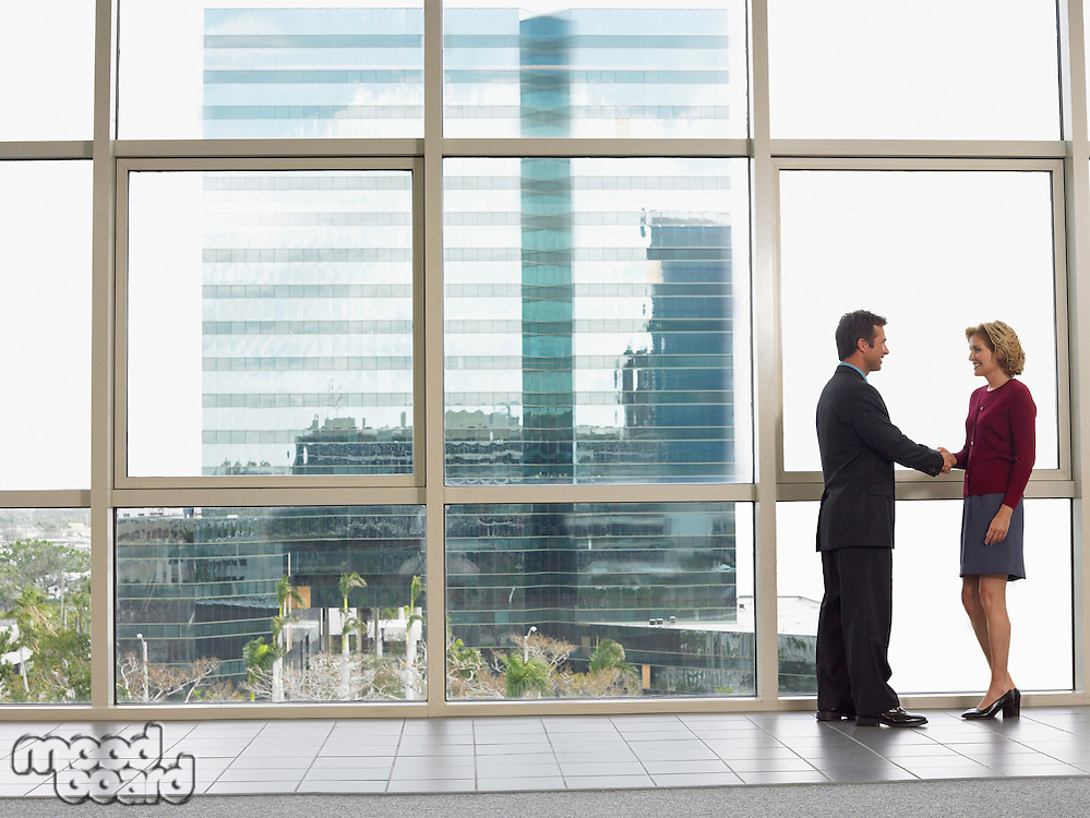 Businessman and woman shaking hands in office building