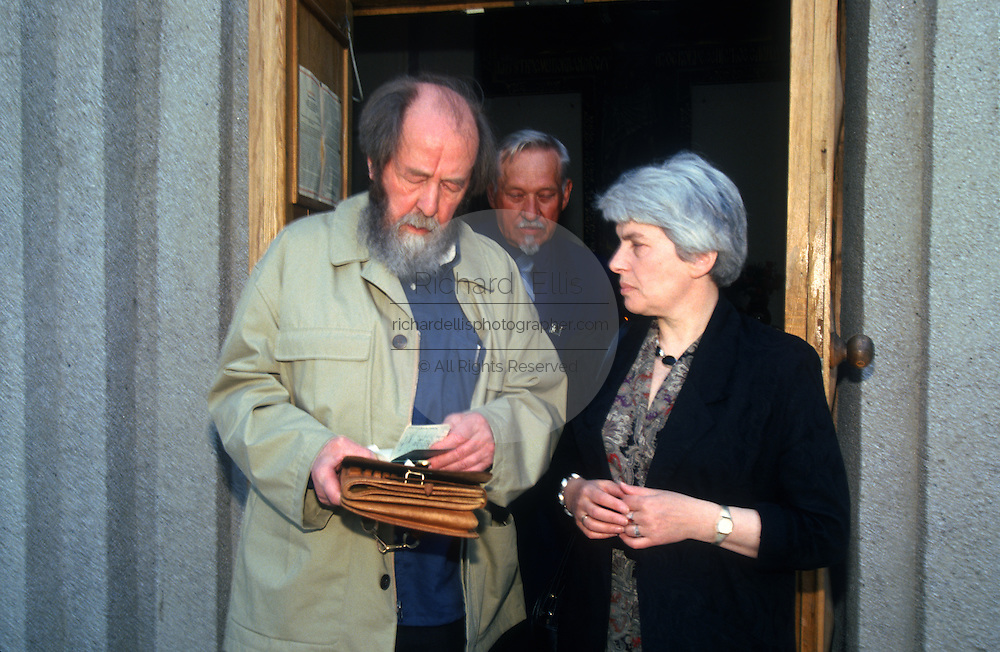 Russian Nobel prize novelist Alexander Solzhenitsyn with his wife Alya Svetlova after arriving by train returning to his homeland June 5, 1995 in Khabarovsk, Russia. Solzhenitsyn was expelled from the Soviet Union in 1974 but returned after the fall of the Soviet Union.