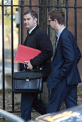 London, November 06 2017. Secretary of State for Work and Pensions David Gauke (L) in Downing Street visiting the Prime Minister's official residence at No. 10. © Paul Davey
