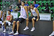 Sassari 14 Agosto 2012 - Qualificazioni Eurobasket 2013 -Allenamento<br /> Nella Foto : DANILO GALLINARI GIUSEPPE POETA<br /> Foto Ciamillo