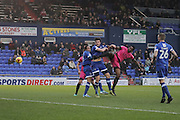 Southend United striker Nile Ranger (50) heads on target under pressure from Oldham Athletic defender Cameron Burgess (5) during the EFL Sky Bet League 1 match between Oldham Athletic and Southend United at Boundary Park, Oldham, England on 17 December 2016. Photo by Simon Brady.