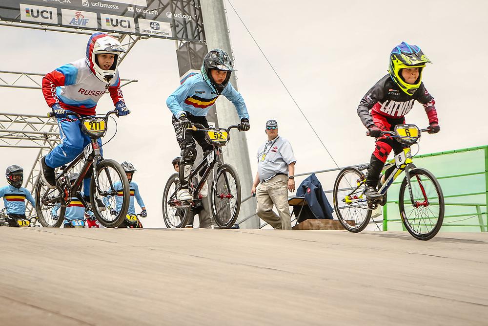 2018 UCI World Championships<br /> Baku, Azerbaijan<br /> 8 Boys #6 (KRAUKLIS Patriks) LAT<br /> 8 Boys #52 (DE FAUW Andreas) BEL<br /> 12 Boys #277 (VOLKOV Konstantin) RUS
