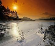Winter sunset over Loch laggan, Glen Spean, Inverness-shire