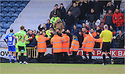 Sheffield United fans confront players during the Sky Bet League 1 match between Rochdale and Sheffield Utd at Spotland, Rochdale, England on 27 February 2016. Photo by Daniel Youngs.