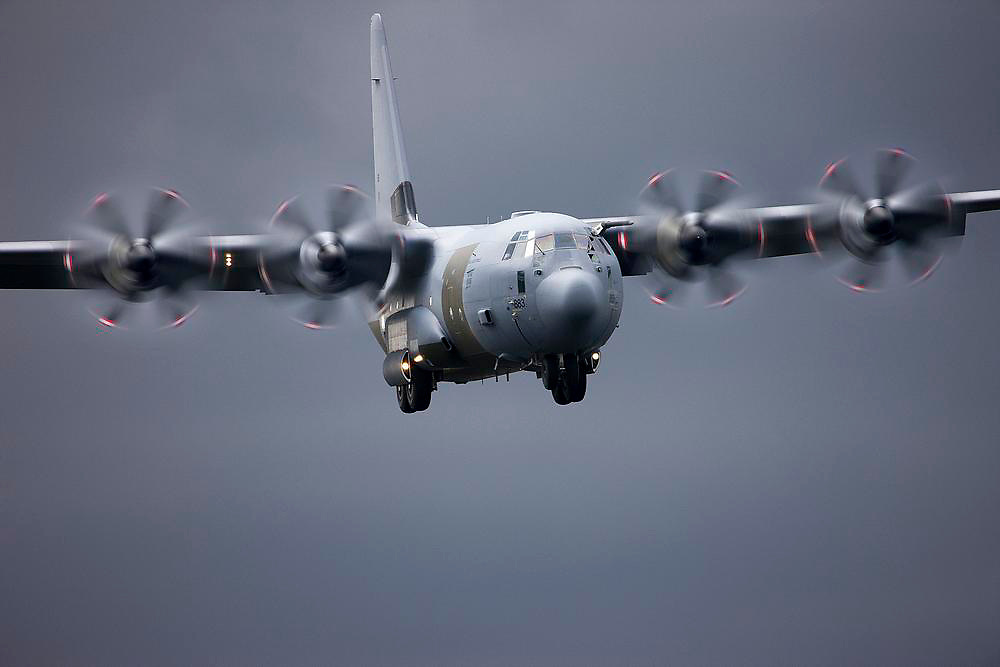 RAF C130J Hercules on approach.