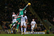 Northampton Town goalkeeper David Cornell (26)  punches clear during the EFL Sky Bet League 1 match between Bradford City and Northampton Town at the Coral Windows Stadium, Bradford, England on 22 November 2016. Photo by Simon Davies.
