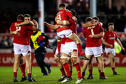 Wales U20 celebrate victory over England U20 - Mandatory by-line: Robbie Stephenson/JMP - 22/02/2019 - RUGBY - Zip World Stadium - Colwyn Bay, Wales - Wales U20 v England U20 - Under-20 Six Nations