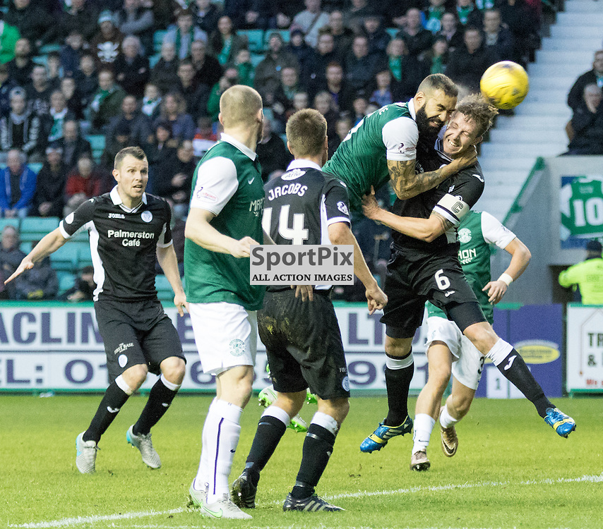 Hibernian's Liam Fontaine gets his head on a corner during the Hibernian vs Queen of the South Scottish Championship 19th December 2015......(c) MARK INGRAM | SportPix.org.uk