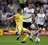 Photo: Paul Thomas.<br /> Derby County v Southampton. Coca Cola Championship. Play Off Semi Final, 2nd Leg. 15/05/2007.<br /> <br /> Stephen Pearson (R) of Derby has the ball clear from him by Martin Cranie.