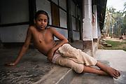 Vishnu Vait Hundu Monks<br /> Monastery<br /> Mising Tribe (Mishing or Miri Tribe)<br /> Majuli Island, Brahmaputra River<br /> Largest river island in India<br /> Assam,  ne India