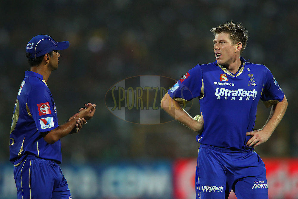 Rahul Dravid and James Faulkner talk tactics during match 61 of the Pepsi Indian Premier League ( IPL) 2013  between The Rajasthan Royals and the Chennai SUperkings held at the Sawai Mansingh Stadium in Jaipur on the 12th May 2013..Photo by Ron Gaunt-IPL-SPORTZPICS ..Use of this image is subject to the terms and conditions as outlined by the BCCI. These terms can be found by following this link:..http://www.sportzpics.co.za/image/I0000SoRagM2cIEc