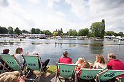 Henley on Thames, England, United Kingdom, 7th July 2019, Henley Royal Regatta, Finals Day, The Diamond Challenge Sculls, left, Oliver . Zeidler, Germany takes a commanding lead over G.G. Krommenhoek from the  Netherlands, with both scullers passing through the Stewards Enclosure, Henley Reach, [© Peter SPURRIER/Intersport Image]<br />