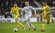 FOOTBALL: Nicolai Boilesen (FC København) in action between Josip Brezovec and Ante Kulušić (FC Sheriff) during the UEFA Europa League Group F match between FC København and FC Sheriff at Parken Stadium, Copenhagen, Denmark on December 7, 2017. Photo: Claus Birch