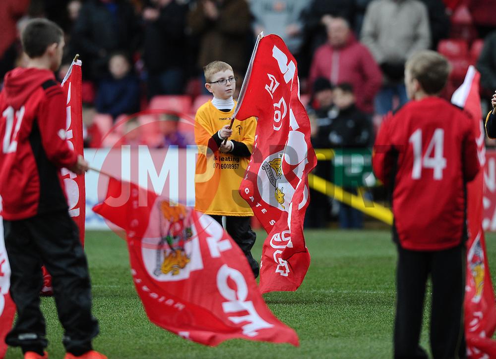 Flag Barer  - Photo mandatory by-line: Joe Meredith/JMP - Mobile: 07966 386802 - 14/02/2015 - SPORT - Football - Bristol - Ashton Gate - Bristol City v Sheffield United - Sky Bet League One