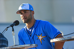 March 20, 2017 - Port Charlotte, Florida, U.S. - WILL VRAGOVIC       Times.Tampa Bay Rays center fielder Kevin Kiermaier (39) answers questions during a press conference announcing his six-year, $53.5 million deal with the team at Charlotte Sports Park in Port Charlotte, Fla. on Friday, March 17, 2017. (Credit Image: © Will Vragovic/Tampa Bay Times via ZUMA Wire)