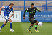 Forest Green Rovers Reuben Reid(26) on the ball during the EFL Sky Bet League 2 match between Macclesfield Town and Forest Green Rovers at Moss Rose, Macclesfield, United Kingdom on 29 September 2018.