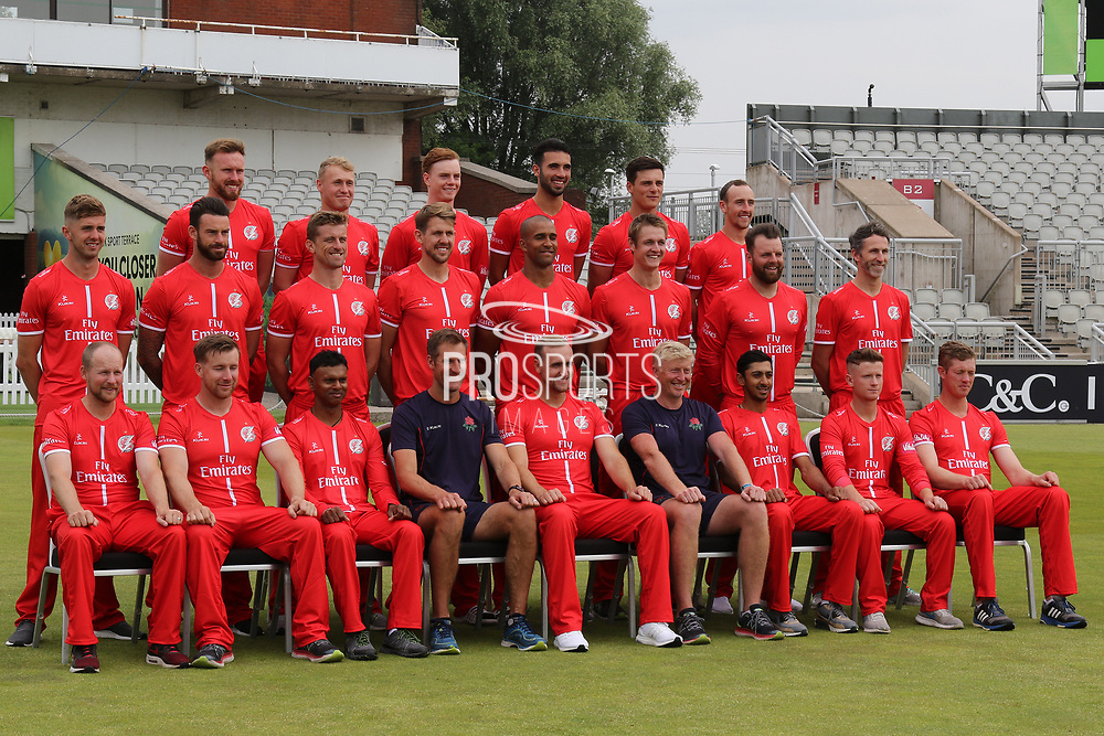 Lancashire T20 squad during the Lancashire County Cricket Club T20 Media Day at the Emirates, Old Trafford, Manchester, United Kingdom on 1 June 2018. Picture by George Franks.