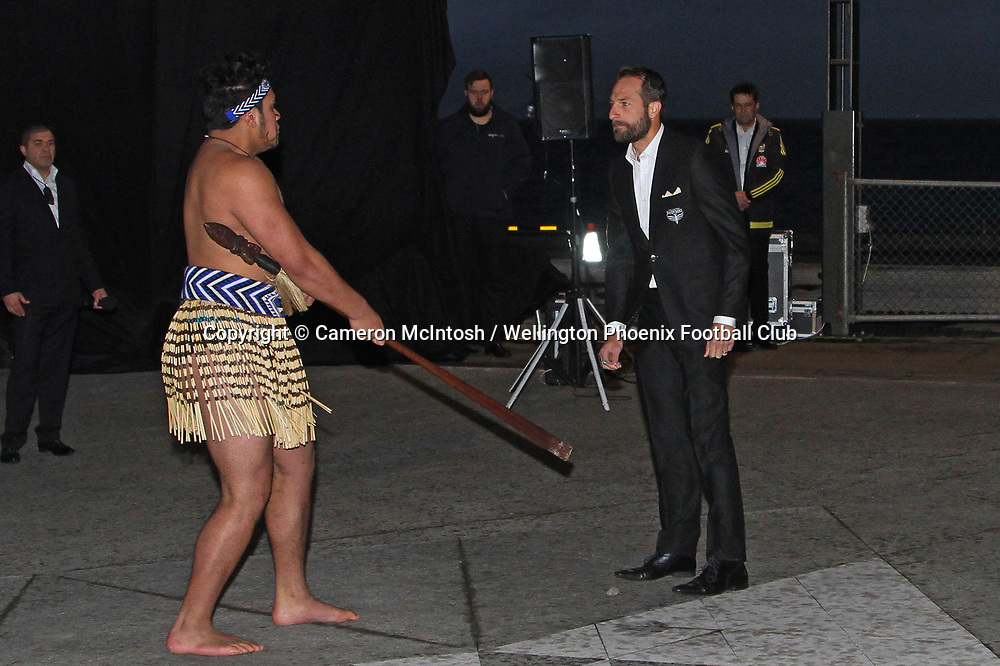 Andrew Durante receives a powhiri at the dawn ceremony and new logo unveiling of the Wellington Phoenix Football Club at The Wharewhaka Function Centre in Wellington, New Zealand on 10 August 2017.<br /> Copyright photo: Cameron McIntosh / www.photosport.nz