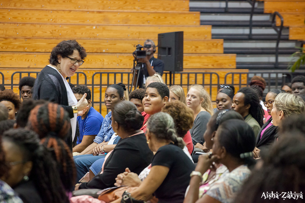 Justice Sotomayor answered a number of questions from UVI students while walking amongst the crowd and shaking hands.  2017 Student Convocation with featured honored guest the Honorable Sonia Sotomayor, Associate Justice, United States Supreme Court.  UVI Sports and Fitness Center.  St. Thomas, USVI.  9 February 2017.  © Aisha-Zakiya Boyd