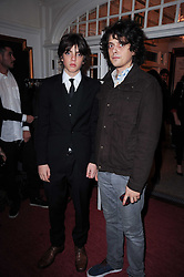 Left to right, brothers SASCHA BAILEY and FENTON BAILEY sons of David Bailey at a screening of the short film 'Away We Stay' directed by Edoardo Ponti held at The Electric Cinema, Portobello Road, London W1 on 15th November 2010.