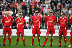 LIVERPOOL, ENGLAND - SUNDAY MARCH 27th 2005: Liverpool Legends players line-up before the Tsunami Soccer Aid match at Anfield. L-R: Phil Neal, Paul Walsh, Phil Thompson, Alan Hansen, Alan Kennedy. (Pic by David Rawcliffe/Propaganda)