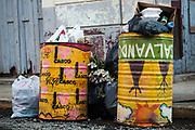 Garbage cans in Panama's Casco Viejo neighborhood