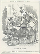 Might is Right'. Germany (Wilhelm II) bullying Russia (Nicholas II), still humiliated, battered and weak from defeat in the Russo-Japanese War (1904-1905) in which the Russian fleet was destroyed. Cartoon by Edward Linley Sambourne from 'Punch', London, 7 April 1909.