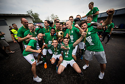 Players of Olimpija celebrate with a trophy after they became Slovenian National Champion 2018 after the football match between NK Domzale and NK Olimpija Ljubljana in 36th Round of Prva liga Telekom Slovenije 2017/18, on May 27, 2018 in Sports park Domzale, Domzale, Slovenia. Photo by Vid Ponikvar / Sportida