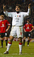 Photo: Chris Brunskill, Digitalsport<br /> Manchester Utd v AC Milan. Champions League 2nd Round 1st Leg. 23/02/2005. Gennaro Gattuso of AC Milan appeals to the Milan fans to raise the noise levels.