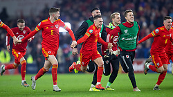 CARDIFF, WALES - Tuesday, November 19, 2019: Wales' Connor Roberts celebrates with teammates after the final UEFA Euro 2020 Qualifying Group E match between Wales and Hungary at the Cardiff City Stadium where Wales won 2-0 and qualified for Euro 2020. (Pic by Laura Malkin/Propaganda)
