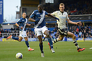 Birmingham City striker Clayton Donaldson holds the ball up from Fulham defender Dan Burn Birmingham City and Fulham at St Andrews, Birmingham, England on 19 March 2016. Photo by Alan Franklin.
