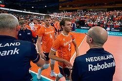 21-09-2019 NED: EC Volleyball 2019 Netherlands - Germany, Apeldoorn<br /> 1/8 final EC Volleyball / Wessel Keemink #2 of Netherlands, Thijs Ter Horst #4 of Netherlands