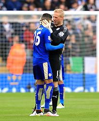 Kasper Schmeichel of Leicester City hugs Riyad Mahrez  - Mandatory by-line: Matt McNulty/JMP - 24/04/2016 - FOOTBALL - King Power Stadium - Leicester, England - Leicester City v Swansea City - Barclays Premier League