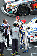 BURIRAM, THAILAND - OCTOBER 08: GT-500 car #37 Lexus KeePer TOM'S LC500 Ryo Hirakawa / Nick Cassidy post-race interview after winning the 2017 AUTOBACS SUPER GT Round7 Chang SUPER GT RACE , Chang International Circuit, Buriram, Thailand on October 08, 2017.<br /> .<br /> .<br /> .<br /> (Photo by: Naratip Golf Srisupab/SEALs Sports Images)<br /> .<br /> Any image use must include a mandatory credit line adjacent to the content which should read: Naratip Golf Srisupab/SEALs Sports Images
