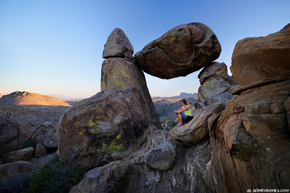 Admiring the view from Balanced Rock in Big Bend National Park, Texas.