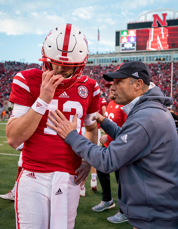 Tanner Lee #13 and Mike Riley during Nebraska's game against Northwestern at Memorial Stadium in Lincoln, Nebraska on Nov. 4, 2017. Photo by Aaron Babcock, Hail Varsity