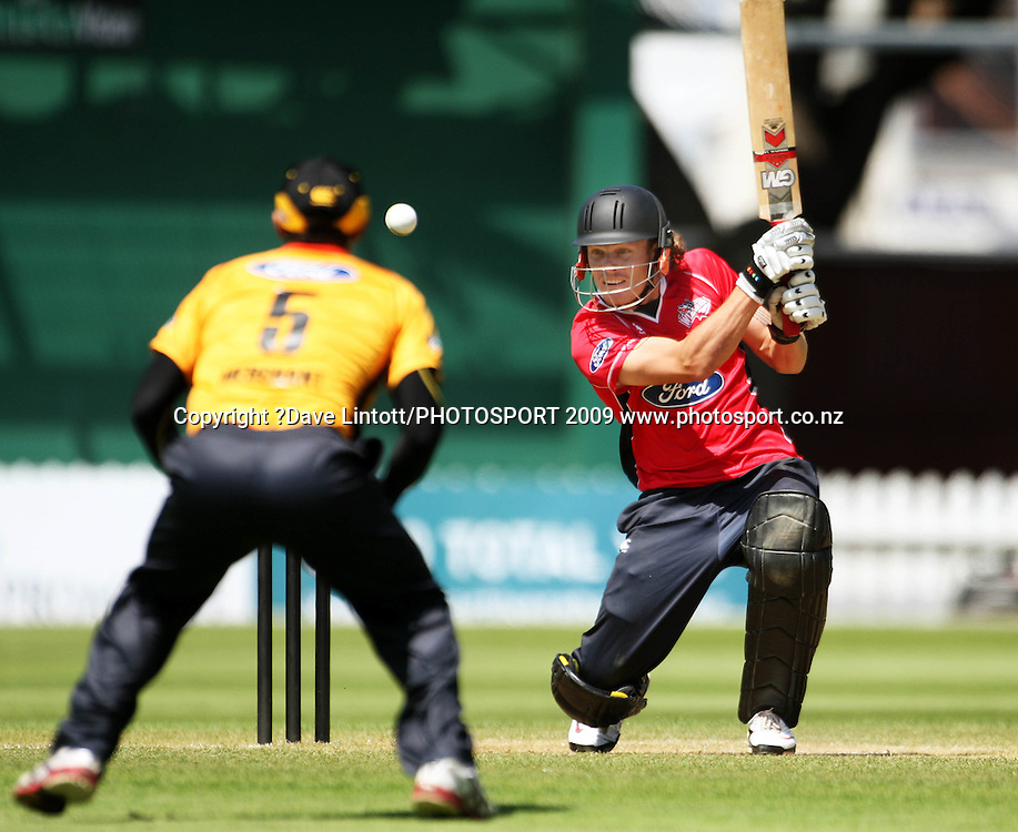 Canterbury's Rob Nicol bats.<br /> One Day cricket - Wellington Firebirds v Canterbury Wizards at Allied Nationwide Finance Basin Reserve, Wellington. Sunday, 20 December 2009. Photo: Dave Lintott/PHOTOSPORT