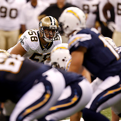 August 27, 2010; New Orleans, LA, USA; New Orleans Saints linebacker Scott Shanle (58) looks over at the San Diego Chargers offense during the first quarter of a preseason game at the Louisiana Superdome. Mandatory Credit: Derick E. Hingle