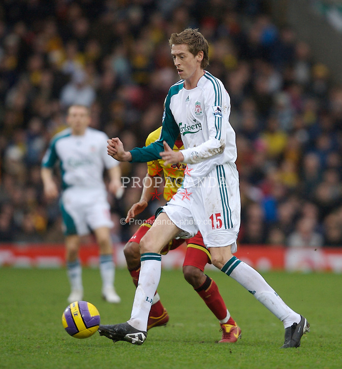 Watford, England - Saturday, January 13, 2007: Liverpool's Peter Crouch in action against Watford during the Premiership match at Vicarage Road. (Pic by David Rawcliffe/Propaganda)