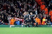 Bayern Munich attacker Arjen Robben (10) celebrating after scoring 1-2 during the Champions League round of 16, game 2 match between Arsenal and Bayern Munich at the Emirates Stadium, London, England on 7 March 2017. Photo by Matthew Redman.