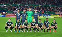 VIENNA, AUSTRIA - Thursday, October 6, 2016: Wales' players line up for a team group photograph before the 2018 FIFA World Cup Qualifying Group D match against Austria at the Ernst-Happel-Stadion. Back row L-R: James Chester, captain Ashley Williams, goalkeeper Wayne Hennessey, Sam Vokes. Front row L-R:  Chris Gunter, Neil Taylor, Ben Davies, Andy King, Joe Allen, Joe Ledley, Gareth Bale. (Pic by David Rawcliffe/Propaganda)